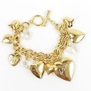 Betsey Johnson Heart Lockets Charm Bracelet